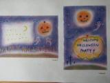 ゆるりと3色パステル画寺子屋で、ハロウィーンカードを描く。