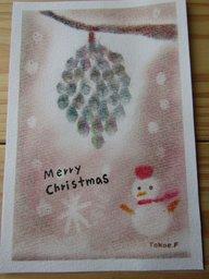 ゆるりと3色パステル画寺子屋で、松ぼっくりのクリスマスアレンジを描く。