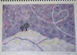 雪の丘のバレンタインアレンジを描く in 甘楽教室