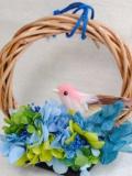 インテリアとしても飾れる♪紫陽花と小鳥のミニリース