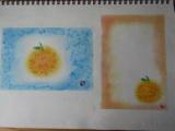 ゆるりと3色パステル画寺子屋で、夏みかんを描く。