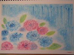 ゆるりと3色パステル画寺子屋で、紫陽花を描く。