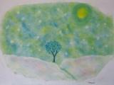 ゆるりと3色パステル画ワークショップ in ウェルカフェ(雪の丘を描く。)
