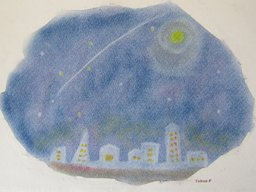 ゆるりとパステル画広場で、夜の街(3色パステル画)を描く。