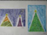 クリスマスツリー(3色パステル画)を描く in 甘楽教室