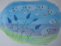 ゆるりと3色パステル画ワークショップ in ウェルカフェ(ラベンダーのオリジナルアレンジを描く...