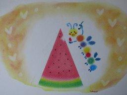ゆるりと3色パステル画寺子屋で、すいかのオリジナルアレンジを描く。