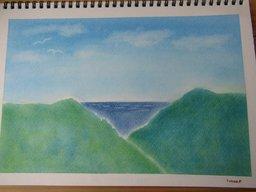 ゆるりと3色パステル画寺子屋で、海の見える風景を描く。