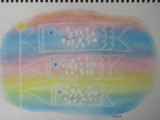 ゆるりと3色パステル画寺子屋で、虹を泳ぐ鯉のぼりを描く。