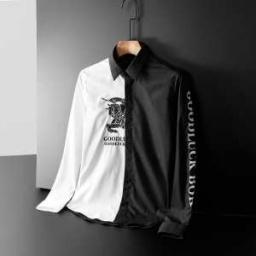 驚きの破格値安い Burberryスーパーコピー長袖シャツ 左右黒白切り替えデザイン バーバリーコ...