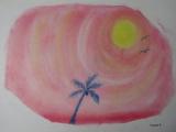 ゆるりと3色パステル画寺子屋で、やしの木を描く。