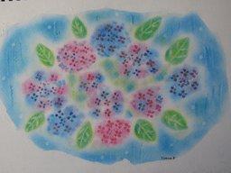 ゆるりと3色パステル画ワークショップ in ウェルカフェ(紫陽花のオリジナルアレンジを描く。)