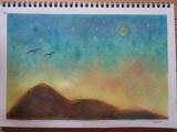 ゆるりと3色パステル画寺子屋で、夕闇のオリジナルグラデーションを描く。