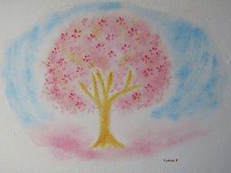ゆるりと3色パステル画ワークショップ in ウェルカフェ(桜のオリジナルアレンジを描く。)