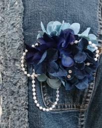 デニム紫陽花のコサージュづくり ~季節のお花をモチーフに、、