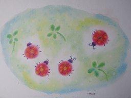 ゆるりと3色パステル画寺子屋で、てんとう虫のオリジナルアレンジを描く。