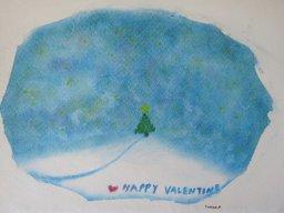 ゆるりと3色パステル画寺子屋で、雪道のオリジナルアレンジを描く
