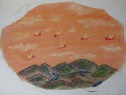 ゆるりと3色パステル画ワークショップ in ウェルカフェ(赤とんぼと山と川を描く。)